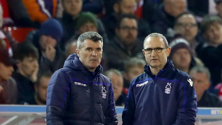 Roy Keane and Martin O'Neill of Nottingham Forest look on during the Sky Bet Championship match between Nottingham Forest and Derby County at City Ground on February 25, 2019 in Nottingham, England.
