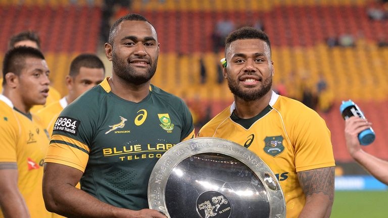 Wallabies centres Tevita Kuridrani (left) and Samu Kerevi