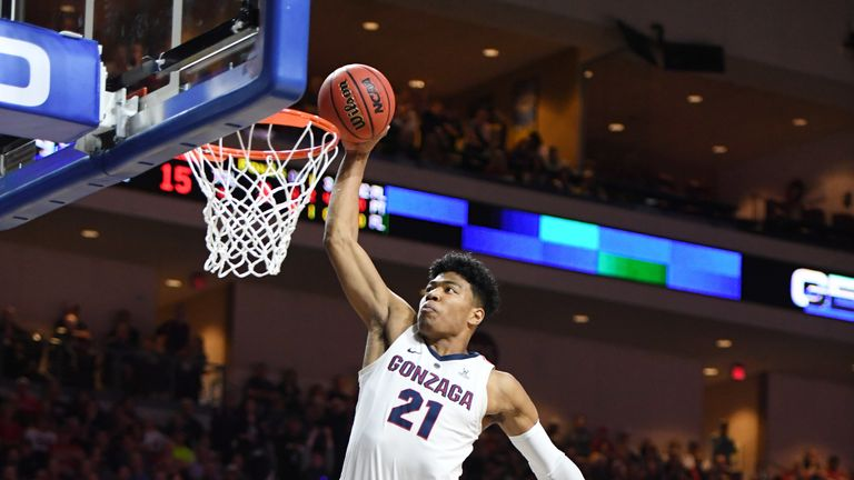 Rui Hachimura #21 of the Gonzaga Bulldogs dunks against the Saint Mary's Gaels during the championship game of the West Coast Conference basketball tournament at the Orleans Arena on March 12, 2019 in Las Vegas, Nevada