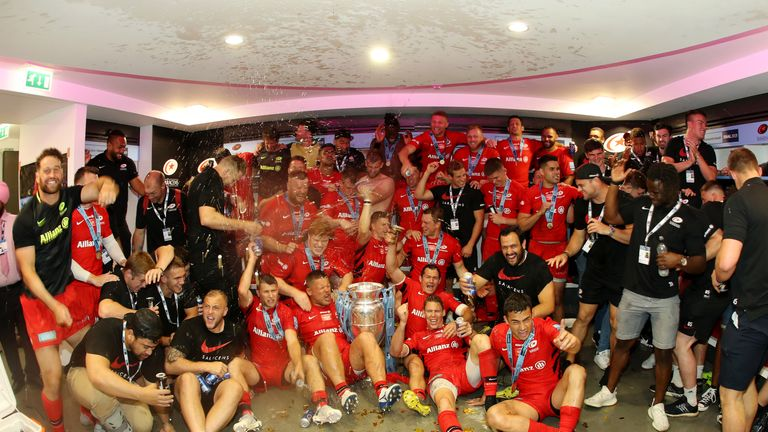 Saracens celebrate in their dressing room after winning the 2019 Premiership final