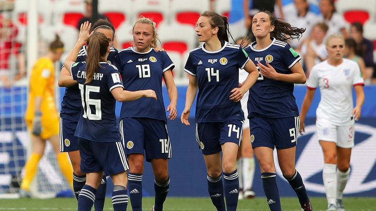 Scotland celebrate after Claire Emslie's goal against England