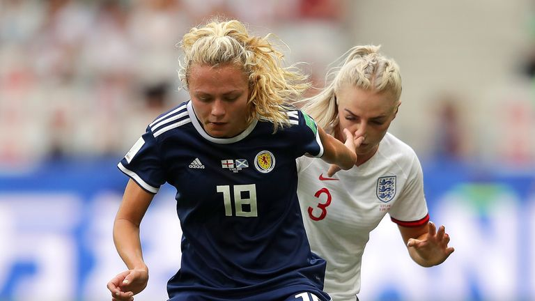 Claire Emslie and Alex Greenwood battle in the Women's World Cup match