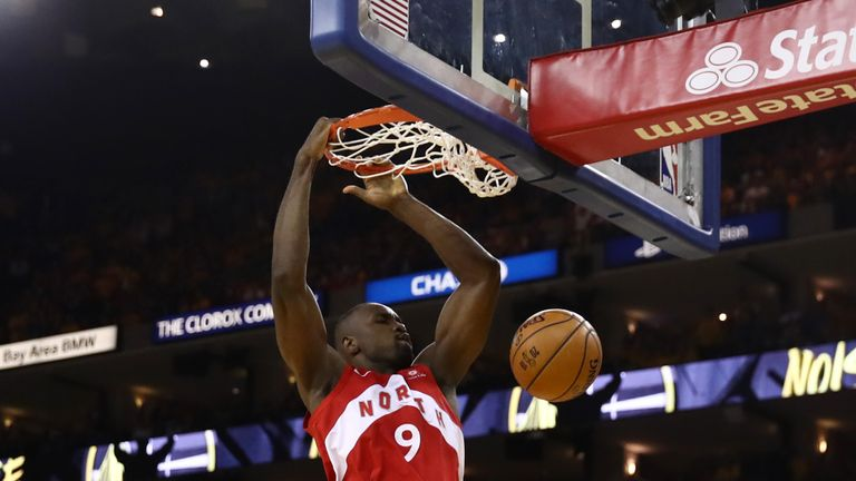 Serge Ibaka #9 of the Toronto Raptors dunks the ball against the Golden State Warriors during Game Four of the 2019 NBA Finals at ORACLE Arena on June 07, 2019 in Oakland, California.