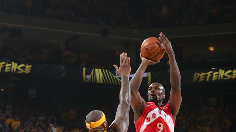 Serge Ibaka #9 of the Toronto Raptors shoots the ball against the Golden State Warriors during Game Four of the NBA Finals on June 7, 2019 at ORACLE Arena in Oakland, California.