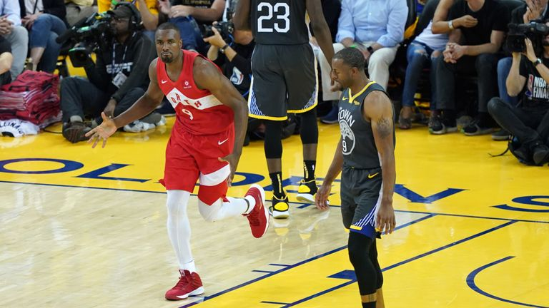 Serge Ibaka #9 of the Toronto Raptors celebrates the basket against the Golden State Warriors in the second half during Game Four of the 2019 NBA Finals at ORACLE Arena on June 07, 2019 in Oakland, California.