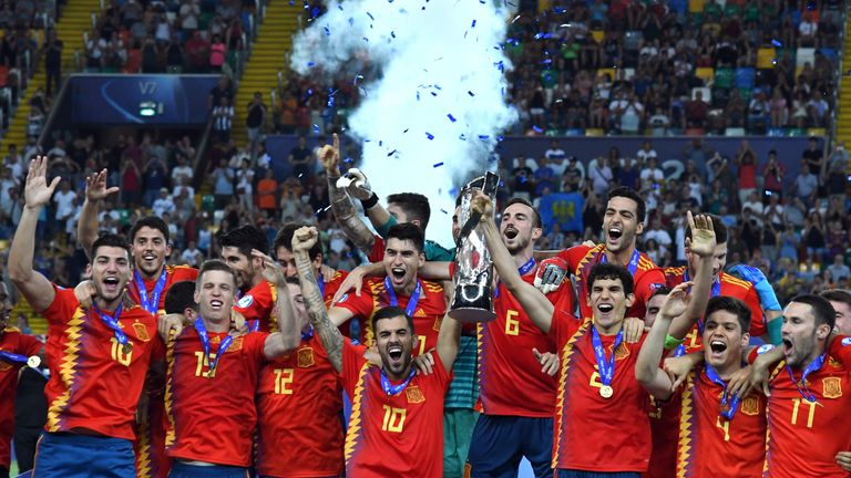 Spain lift the U21 European Championships trophy