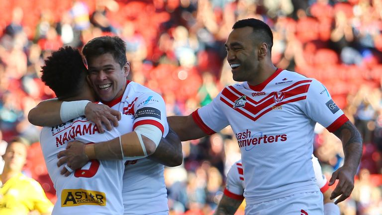 St Helens celebrate Kevin Naiqama's early opening try on Friday night