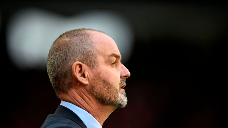 Steve Clarke watches on from the sidelines in Brussels