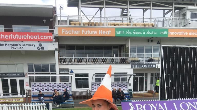 Tammy Beaumont models England's cone hat