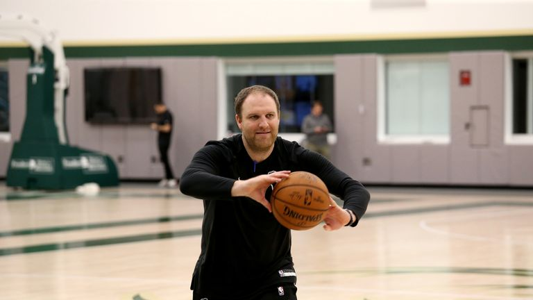 MILWAUKEE, WI - NOVEMBER 15: Assistant Coach Taylor Jenkins of Milwaukee Buck reacts during an all-access practice on November 15, 2018 at the Froedtert & the Medical College of Wisconsin Sports Science Center in Milwaukee, Wisconsin. NOTE TO USER:  User expressly acknowledges and agrees that, by downloading and or using this Photograph, user is consenting to the terms and conditions of the Getty Images License Agreement.  Mandatory Copyright Notice:  Copyright 2018 NBAE (Photo by Gary Dineen/NBAE via Getty Images)