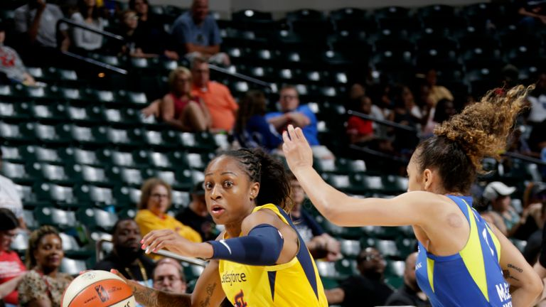 Tiffany Mitchell #3 of the Indiana Fever drives to the basket against the Dallas Wings on June 7, 2019 at the Bankers Life Fieldhouse in Indianapolis, Indiana