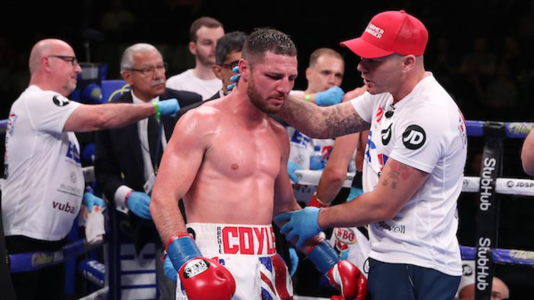 June 1, 2019; New York, NY; Tommy Coyle and Chris Algieri during their bout at Madison Square Garden in New York City.  Mandatory Credit: Ed Mulholland/Matchroom Boxing UK
