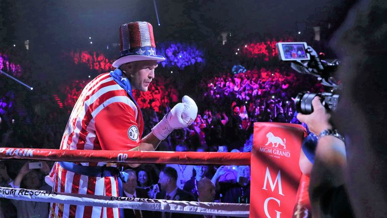 Tyson Fury dressed as Apollo Creed from the Rocky movie