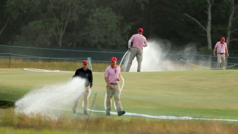 The greens had to be watered heavily to slow them down at Shinnecock Hills