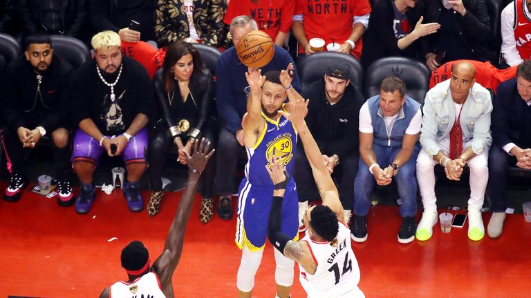 Stephen Curry fires a three-pointer in Game 5 of the NBA Finals