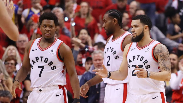 The Toronto Raptors (L-R: Kyle Lowry, Kawhi Leonard and Fred VanVleet) react with disappointment after their Game 2 loss