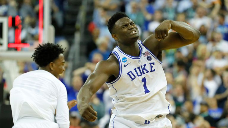 Zion Williamson celebrates after scoring for Duke