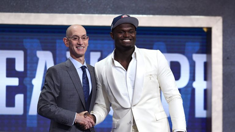 Zion Williamson shakes hands with Adam Silver after being selected first in the 2019 NBA Draft