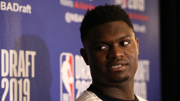 Zion Williamson speaks to reporters after arriving in New York for the NBA Draft