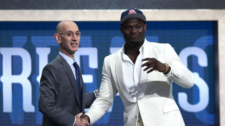 Zion Williamson reacts after being selected first in the 2019 NBA Draft