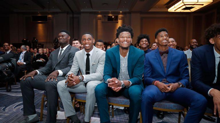 Zion Williamson, RJ Barrett, Cam Reddish and Jarrett Culver pictured at the NBA Draft Lottery