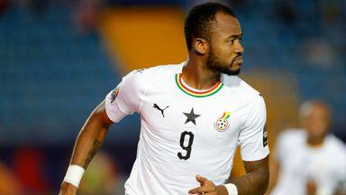 Jordan Ayew celebrates after scoring against Guinea-Bissau
