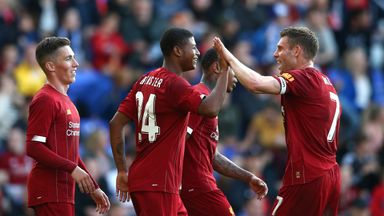 Rhian Brewster celebrates with team-mates after scoring
