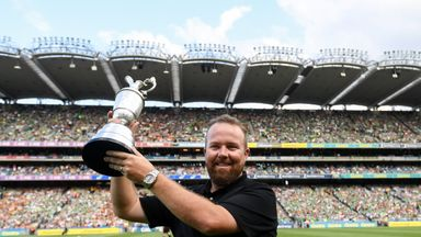 Open Champion Shane Lowry with the Claret Jug ahead of the GAA Hurling All-Ireland Senior Championship Semi-Final between Kilkenny and Limerick