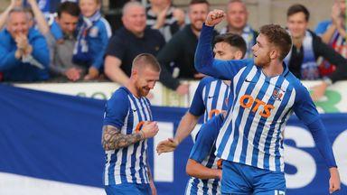 Stuart Findlay of Kilmarnock celebrates after scoring a last-gasp header