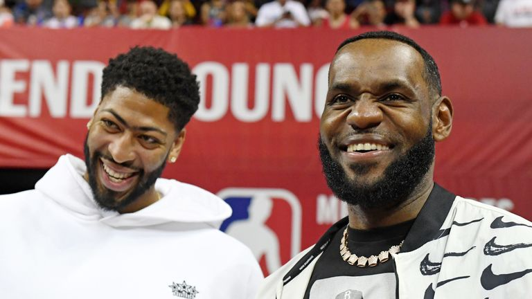 Lakers team-mates Anthony Davis and LeBron James pictured together at Summer League in Las Vegas