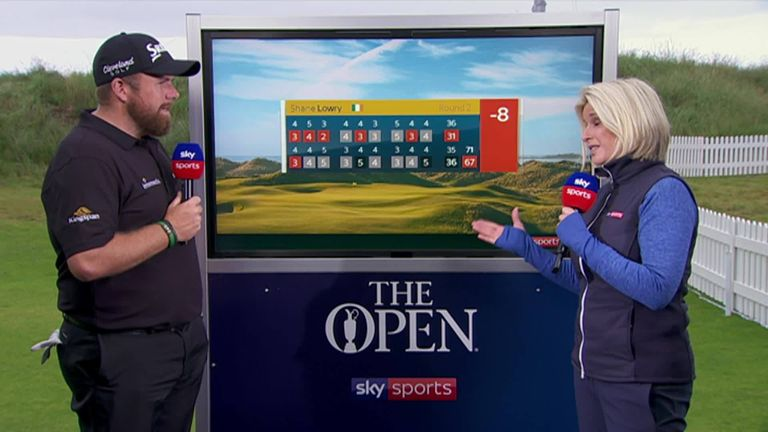 Shane Lowry spoke to Sarah Stirk after he shot a second-round 67 to lead at The Open Championship at Royal Portrush