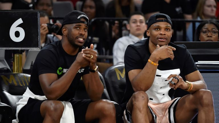 Chris Paul and Russell Westbrook pictured together at a WNBA game