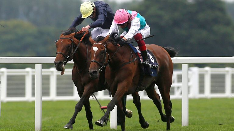 Enable and Frankie Dettori (right) get the better of Anthony Van Dyck and Ryan Moore to win The King George VI & Queen Elizabeth QIPCO Stakes Race run during QIPCO King George Day at Ascot Racecourse. PRESS ASSOCIATION Photo. Picture date: Saturday July 27, 2019. See PA story RACING Ascot. Photo credit should read: Julian Herbert/PA Wire. RESTRICTIONS: Use subject to restrictions. Editorial use only, no commercial or promotional use. No private sales.