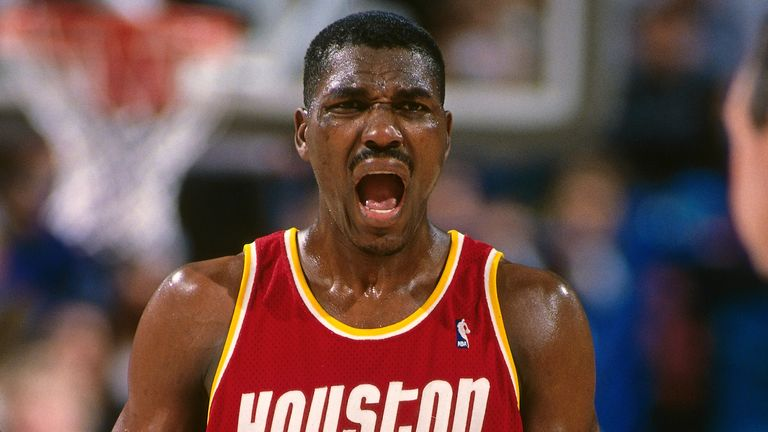 Hakeem Olajuwon in action for the Rockets during their title-winning 1995 season