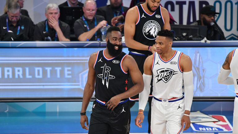 James Harden and Russell Westbrook in opposition at the 2019 All-Star Game