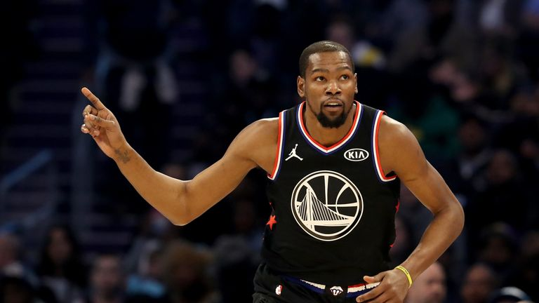 Kevin Durant celebrates a basket during the 2019 All-Star Game