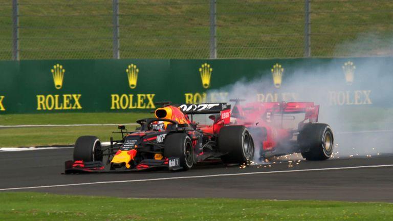 Max Verstappen overtook the Ferrari into Stowe but Sebastian Vettel then rear-ended the Red Bull under braking during the British GP