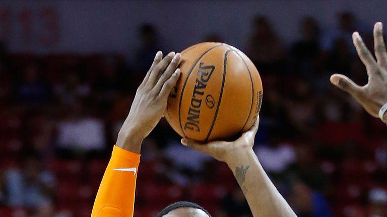 RJ Barrett lofts a jump shot for the New York Knicks at Vegas Summer League