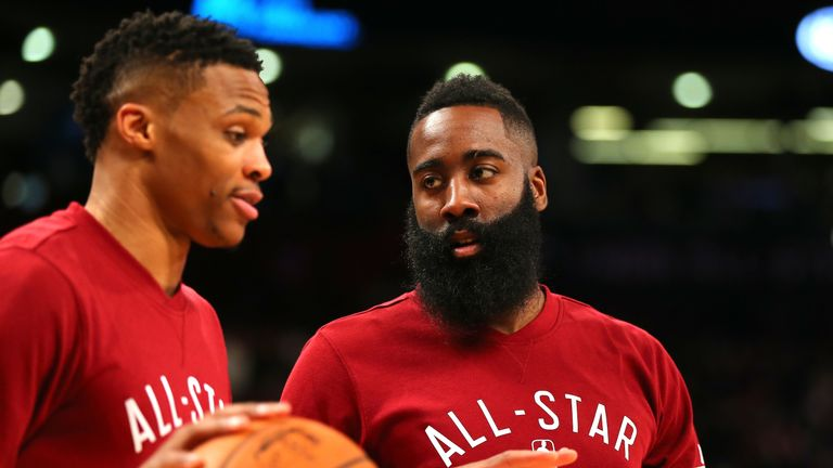 Russell Westbrook and James Harden together at the All-Star Game