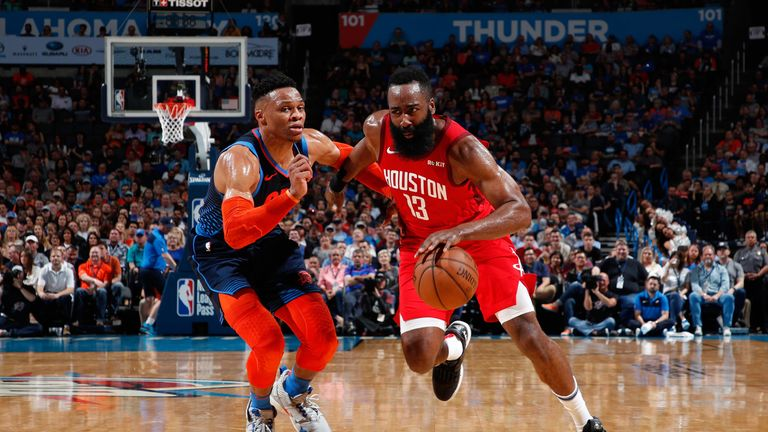 James Harden drives against Russell Westbrook in a Thunder-Rockets regular season game