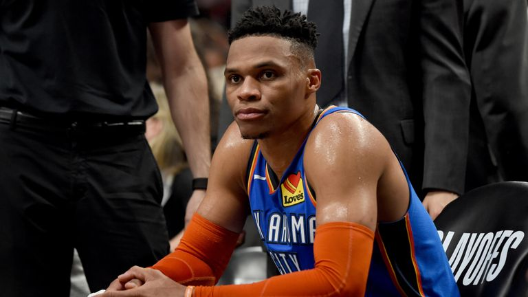 Russell Westbrook gets ready for action on the Thunder bench