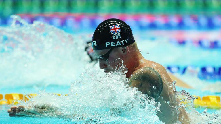 Adam Peaty on his way to winning the men's 100m Breaststroke Final at the 2019 FINA World Championships at Nambu International Aquatics Centre in Gwangju, South Korea