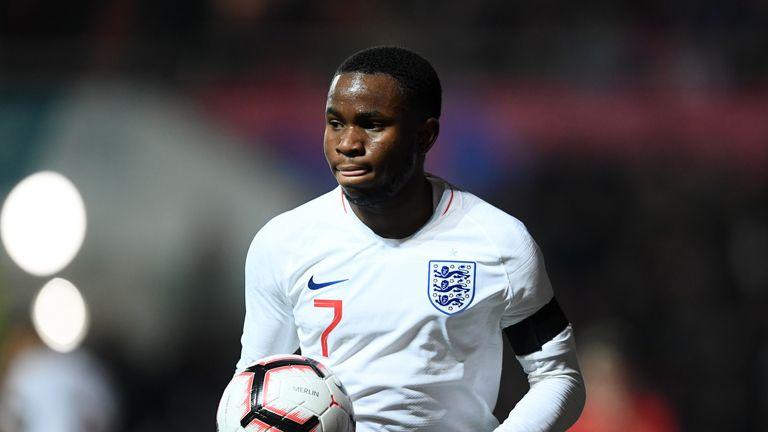 Everton forward Ademola Lookman in action for England U21s