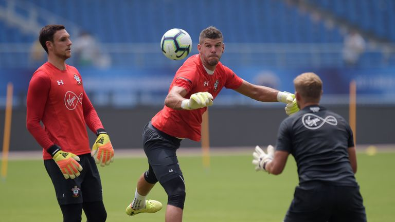 Southampton goalkeepers Alex McCarthy and Fraser Forster training