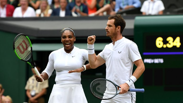 Serena Williams and Murray are through to the third round of the mixed doubles at Wimbledon