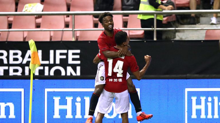 Angel Gomes scored the winning goal for Manchester United in Shanghai