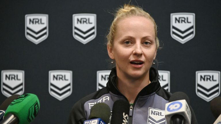 Belinda Sharpe will become the first female to referee an NRL game on Thursday