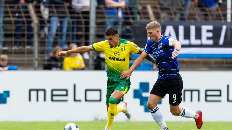 Norwich's Ben Godfrey in action during a pre-season friendly with DSC Arminia Bielefeld