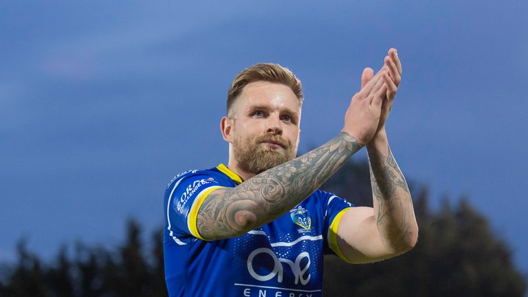 Picture by Allan McKenzie/SWpix.com - 31/05/2019 - Rugby League - Coral Challenge Cup - Hull KR v Warrington Wolves - KC Lightstream Stadium, Hull, England - Warrington's Blake Austin thanks the fans for their support after victory over Hull KR.
