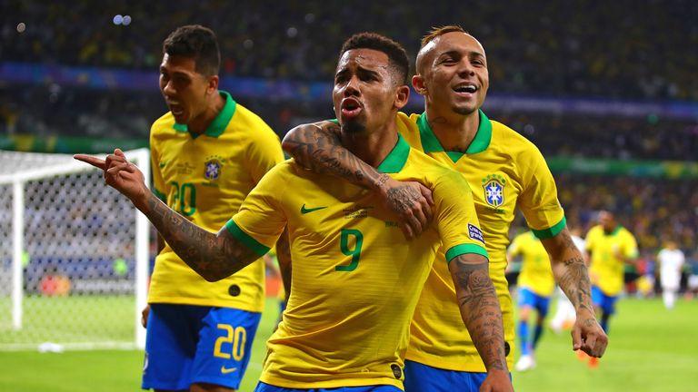 Gabriel Jesus celebrates opening the scoring against Argentina